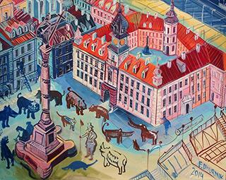 Edward Dwurnik : Warsaw - Pink Royale Castle : Oil on Canvas