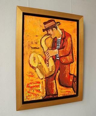 Krzysztof Kokoryn : Orange saxophonist : Oil on Canvas