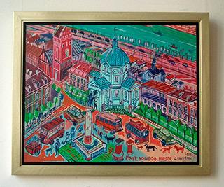 Edward Dwurnik : Warsaw Old City : Oil on Canvas