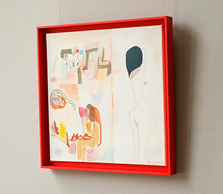 Jacek Cyganek : And when we disappear (red frame) : Tempera on canvas