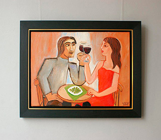 Krzysztof Kokoryn : Couple drinking wine : Oil on Canvas