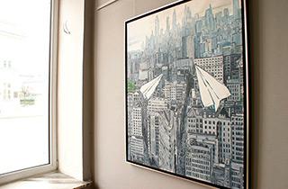Krzysztof Kokoryn : Flight over the city : Oil on Canvas