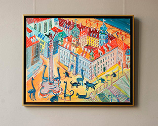 Edward Dwurnik : Giraffes at Castle Square : Oil on Canvas