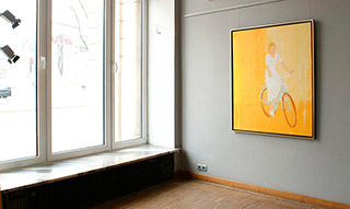 Jacek Łydżba : Cyclist in white dress : Oil on Canvas