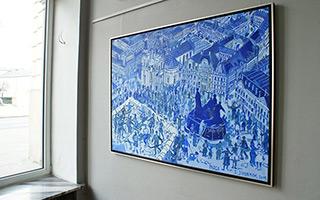 Edward Dwurnik : Prague - The saint Nicholas Churche and the old town : Oil on Canvas