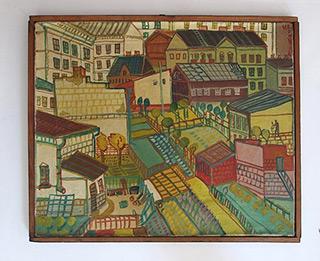 Edward Dwurnik : Little town 1967 : Oil on Canvas