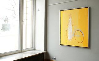 Jacek Łydżba : Cyclist on a yellow background : Oil on Canvas