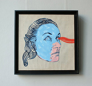 Agnieszka Sandomierz : The Blue mask : Tempera on panel