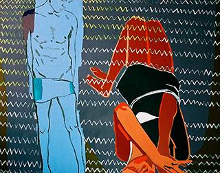 Agnieszka Sandomierz : You are vertical and I am horizontal : Tempera on Canvas