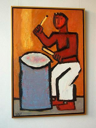 Krzysztof Kokoryn : Drummer and the barrel : Oil on Canvas