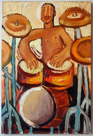 Krzysztof Kokoryn : Drummer wihout clubs : Oil on Canvas