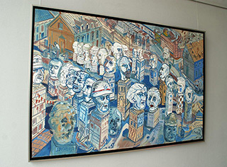 Edward Dwurnik : White heads : Oil on Canvas