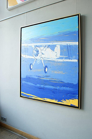 Jacek Łydżba : White airplane : Oil on Canvas