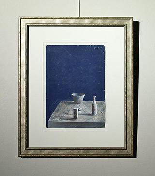Łukasz Huculak : Still life on a blue background : Tempera on canvas