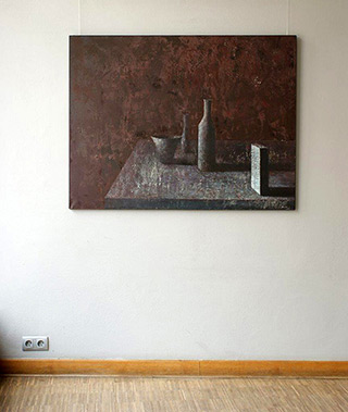 Łukasz Huculak : Objects in a purple interior : Oil on Canvas