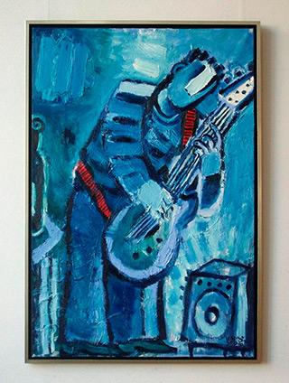 Krzysztof Kokoryn : Blue guitar player : Oil on Canvas