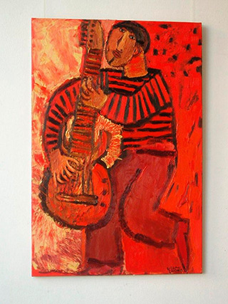 Krzysztof Kokoryn : Red guitar player : Oil on Canvas