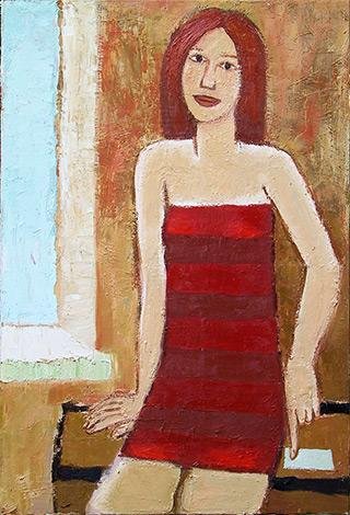 Krzysztof Kokoryn : Girl at the window : Oil on Canvas