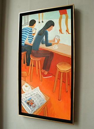 Krzysztof Kokoryn : People with iPhones : Oil on Canvas