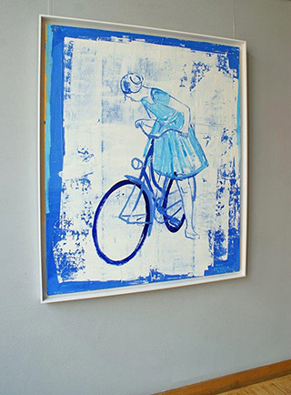 Jacek Łydżba : Cyclist in blues and white : Oil on Canvas