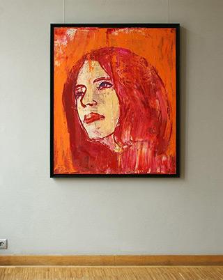 Jacek Łydżba : Lady in red : Oil on Canvas