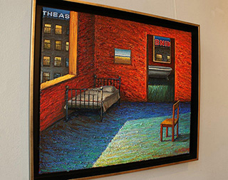 Adam Patrzyk : The room with view of the neon signs : Oil on Canvas