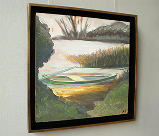 Bogna Gniazdowska : Landscape with boat II : Oil on Canvas