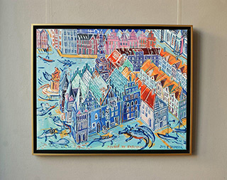 Edward Dwurnik : Flood in Wrocław : Oil on Canvas