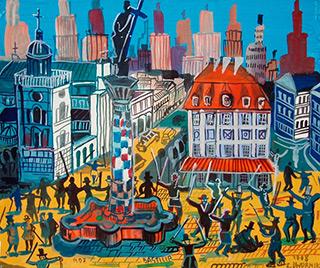 Edward Dwurnik : Uprising in Warsaw : Tempera on Paper
