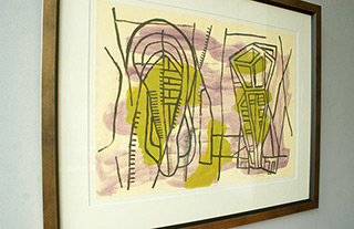 Ciro Beltrán : Confusing in green & violet : Serigraphy on paper