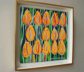 Edward Dwurnik : Yellow tulips with green and a touch of blue : Oil on Canvas