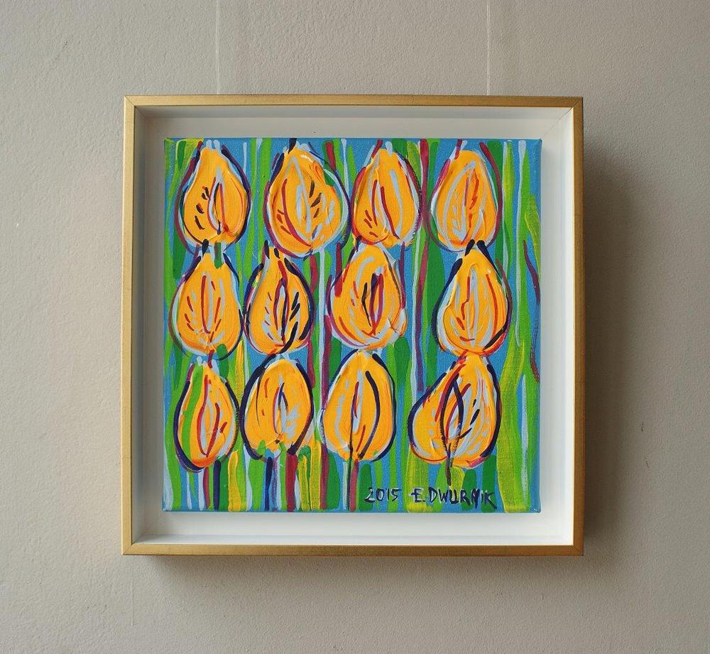 Edward Dwurnik : Yellow tulips with green