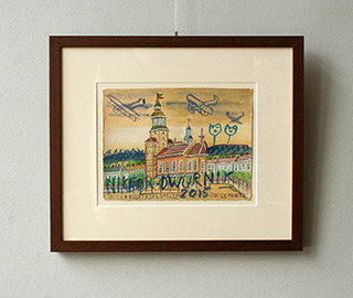 Edward Dwurnik : Old airplanes over the town : Watercolour on paper