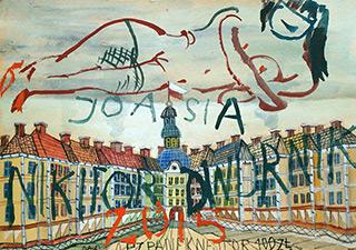 Edward Dwurnik : Joasia rises above the city : Watercolour on paper