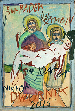 Edward Dwurnik : Three sacred figures : Watercolour on paper