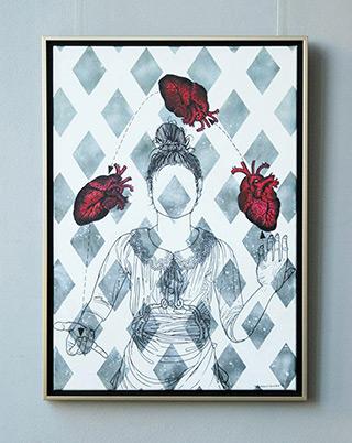 Magdalena Sawicka : Girl juggling : Oil on Canvas