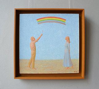 Mikołaj Kasprzyk :  Painting a rainbow : Oil on Canvas