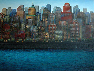 Adam Patrzyk : Town on the river : Oil on Canvas