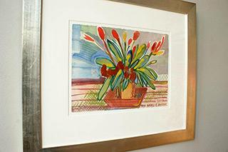 Edward Dwurnik : Tulips - Haiku : Tempera on paper