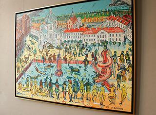 Edward Dwurnik : Warsaw - Fun on the market square : Oil on Canvas