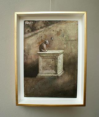 Łukasz Huculak : Cat on the sarcophagus : Oil on Canvas
