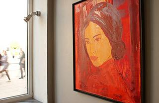 Jacek Łydżba : Modesty in red : Oil on Canvas