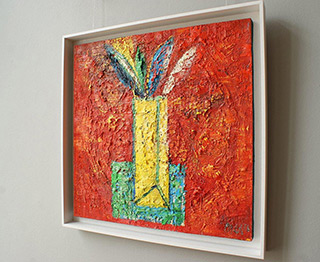 Darek Pala : Vase on a red background : Oil on Canvas