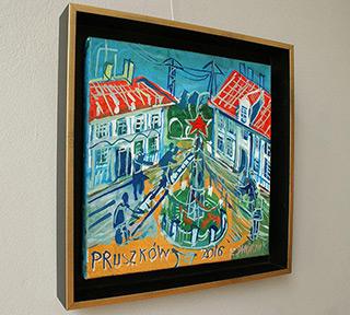 Edward Dwurnik : Red star in Pruszków : Oil on Canvas