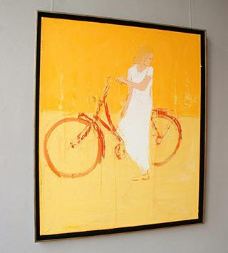 Jacek Łydżba : Cyclist watching back : Oil on Canvas