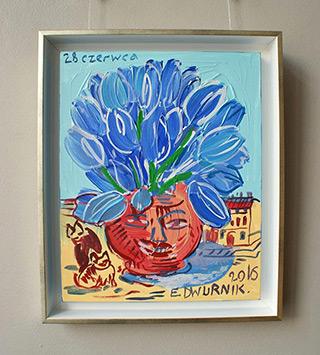Edward Dwurnik : Blue tulips : Oil on Canvas