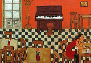 Krzysztof Kokoryn : Bar interior with an old piano : Oil on Canvas