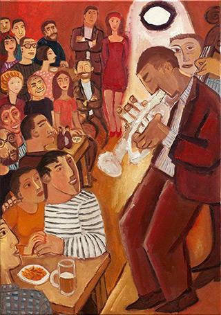 Krzysztof Kokoryn : Jazz in the bar : Oil on Canvas