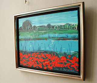 Edward Dwurnik : Landscape with poppies : Oil on Canvas