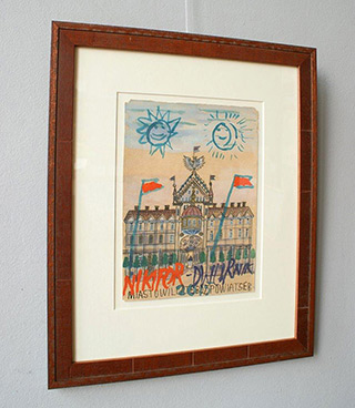 Edward Dwurnik : Sun and the moon over town : Tempera on paper